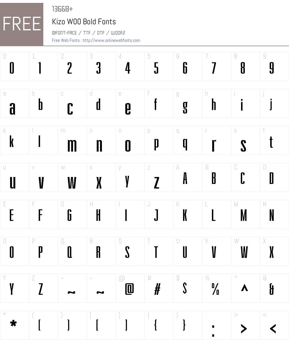 KizoW00-Bold Font Screenshots
