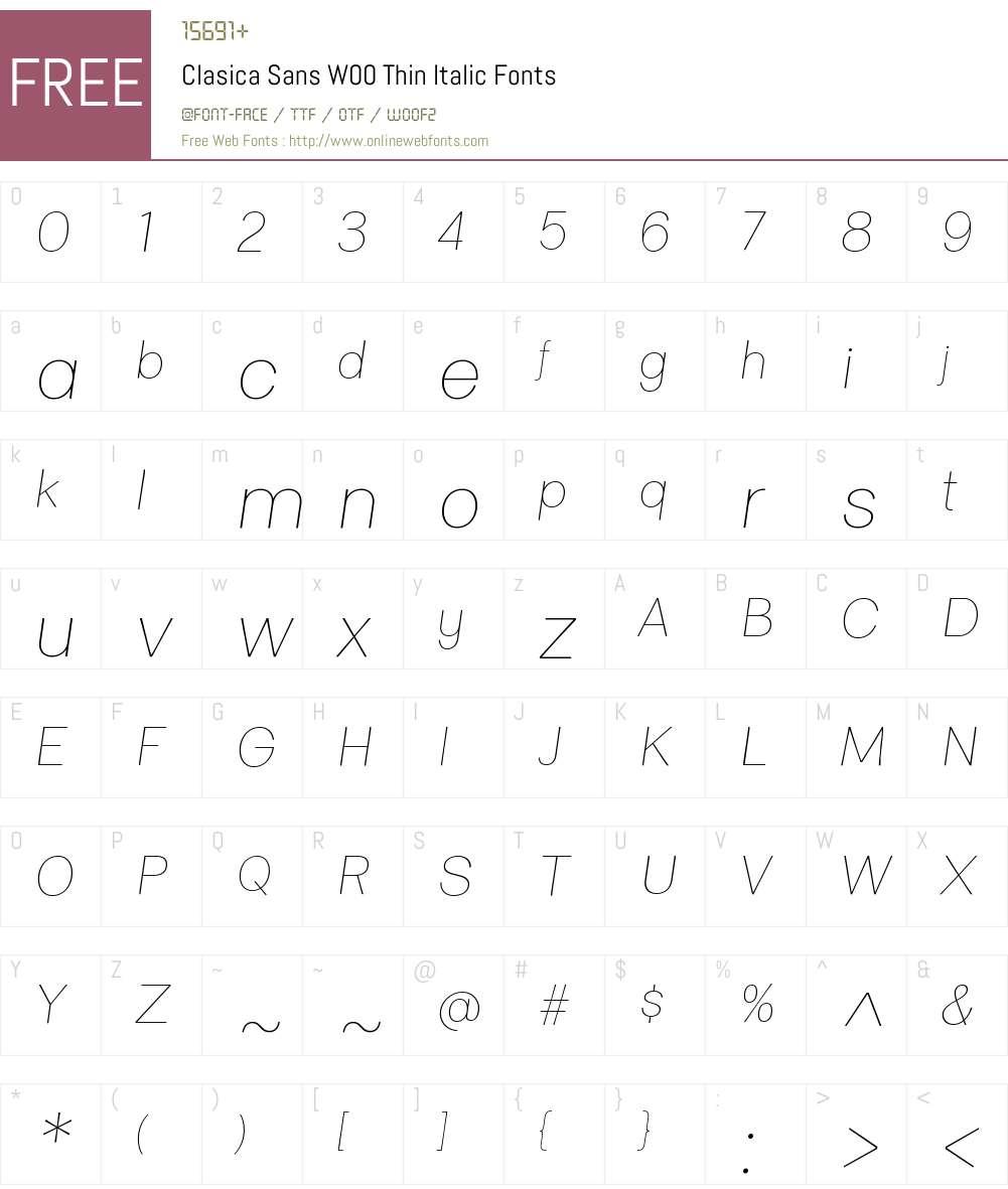 ClasicaSansW00-ThinItalic Font Screenshots