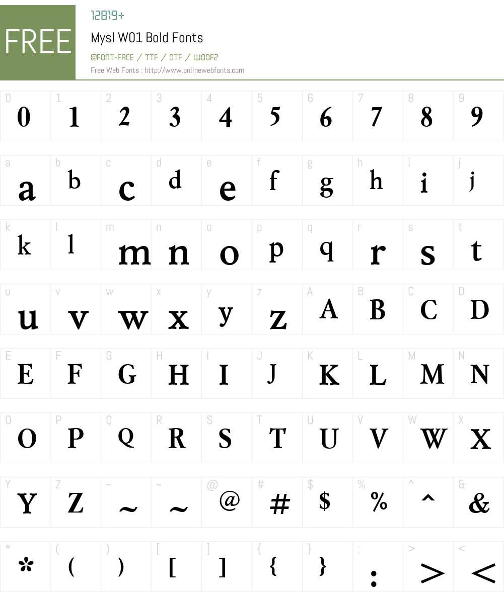 MyslW01-Bold Font Screenshots