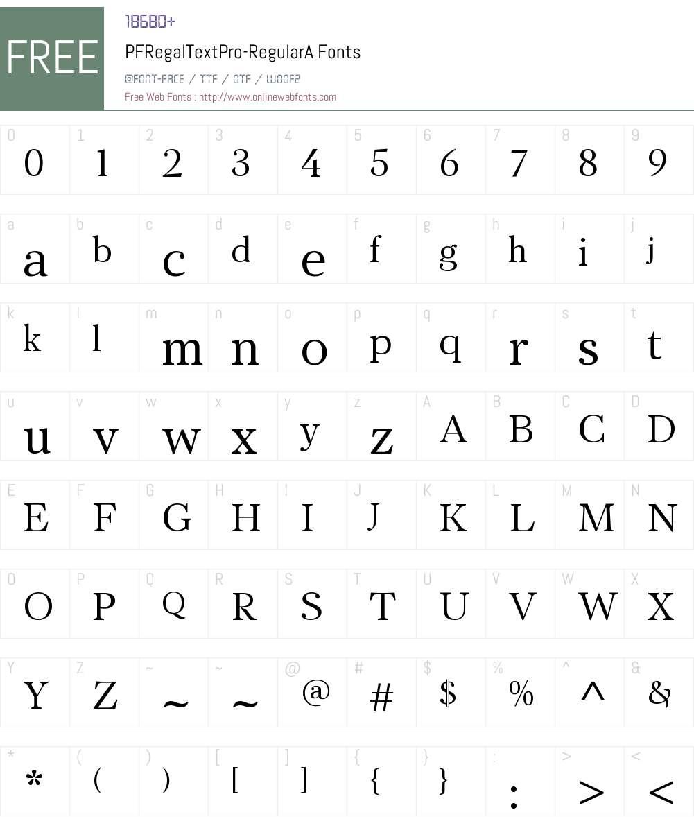 PF Regal Text Pro RegularA Font Screenshots