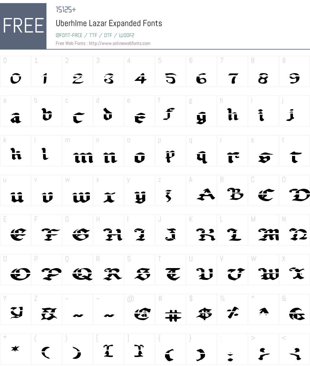 Uberhlme Lazar Expanded Font Screenshots