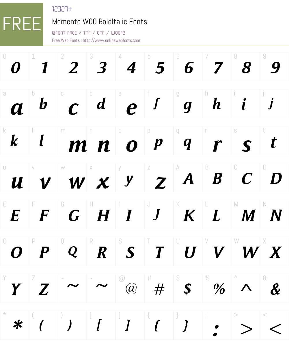 MementoW00-BoldItalic Font Screenshots
