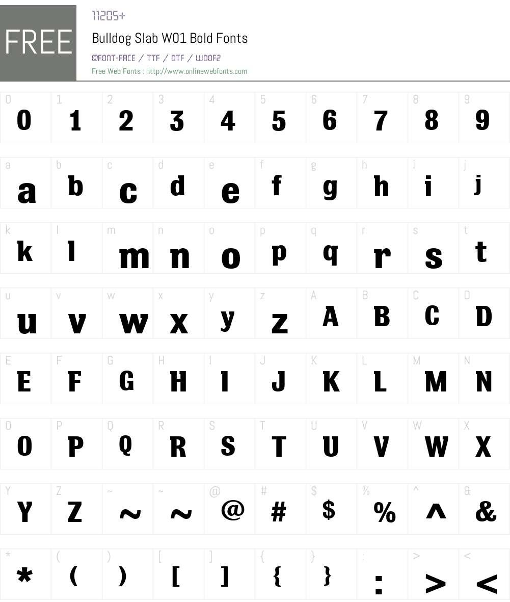 BulldogSlabW01-Bold Font Screenshots