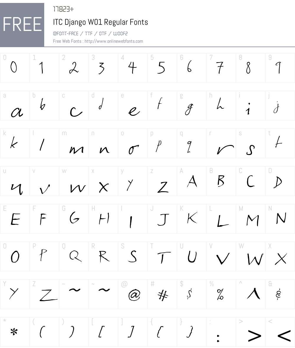 ITCDjangoW01-Regular Font Screenshots