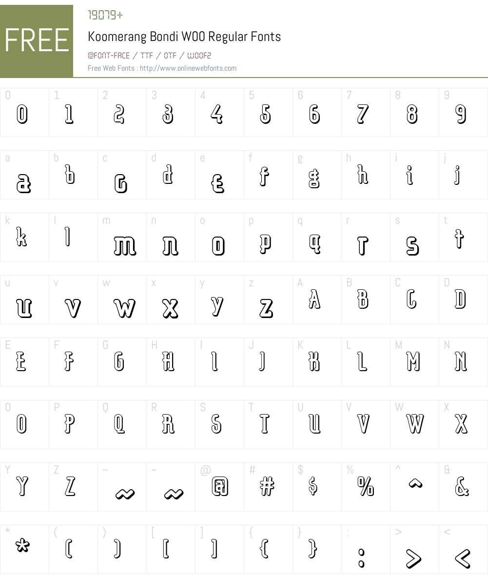 KoomerangBondiW00-Regular Font Screenshots