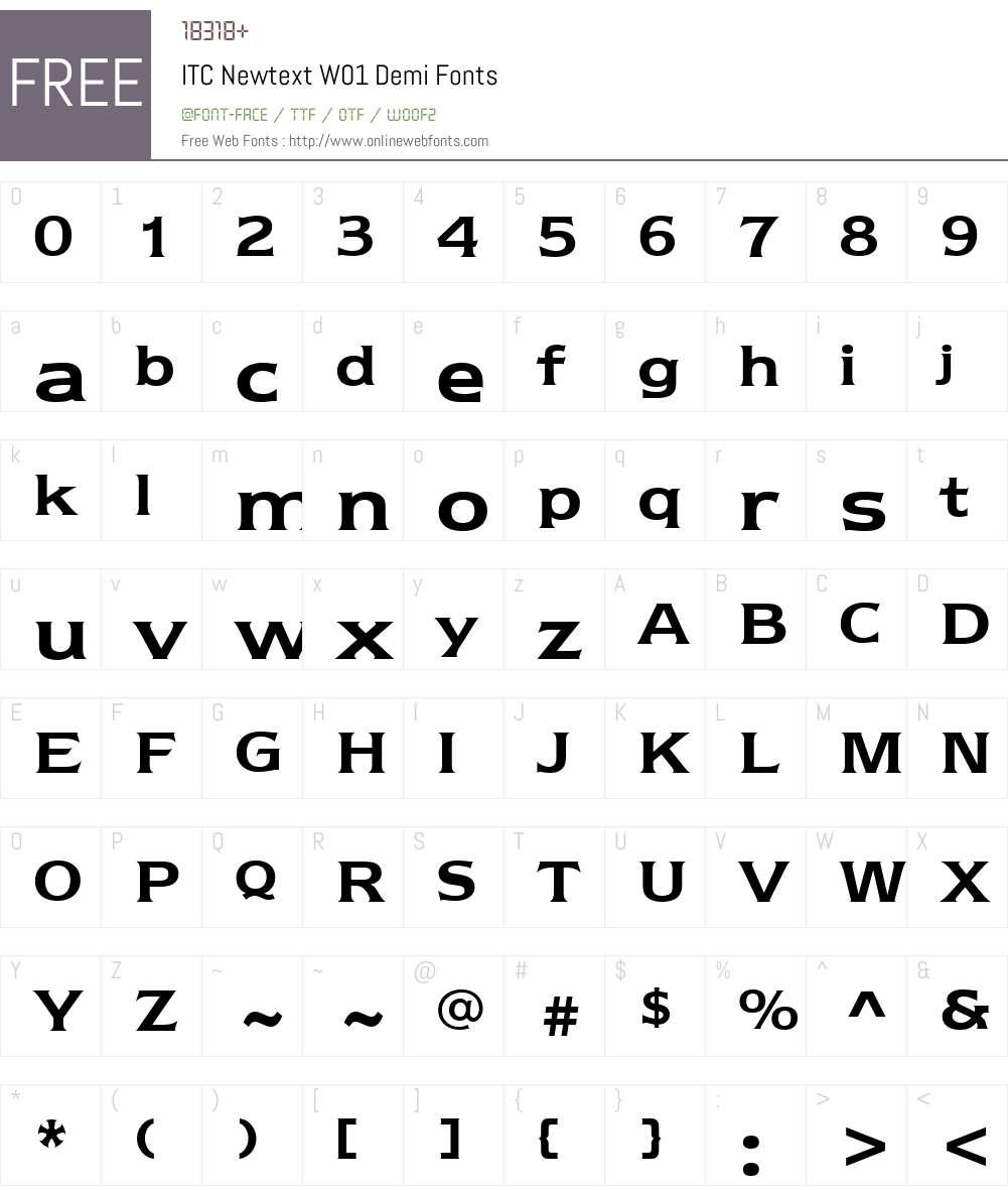 ITCNewtextW01-Demi Font Screenshots