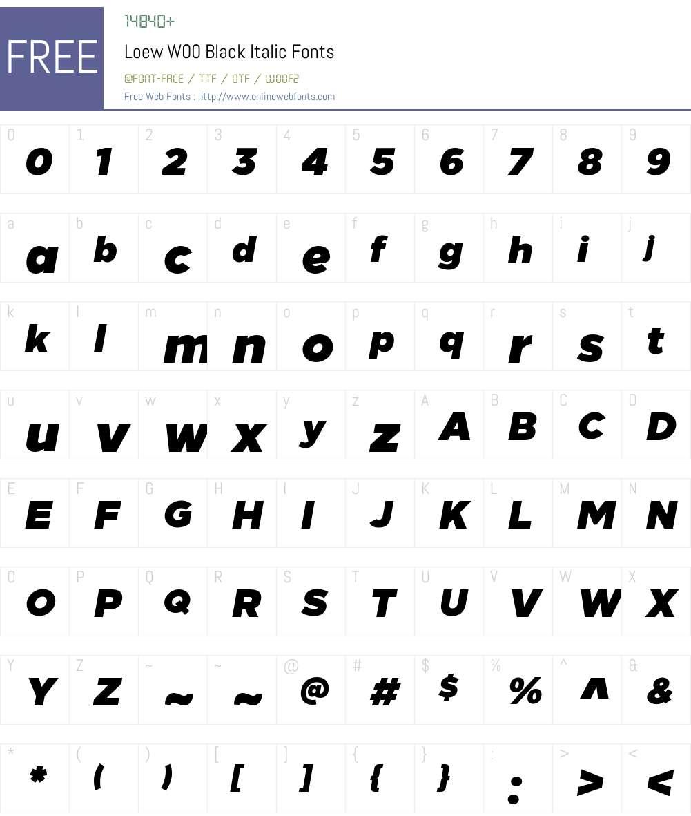 LoewW00-BlackItalic Font Screenshots