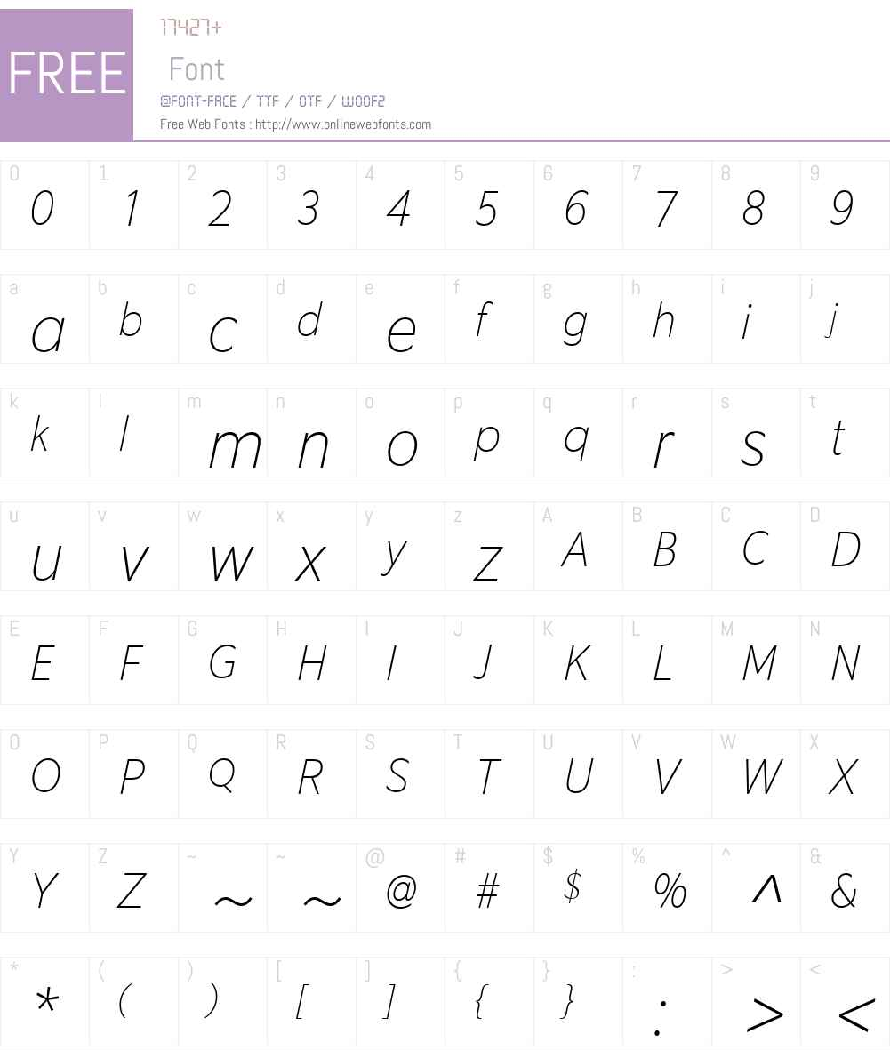 EquipCondW03-ThinItalic Font Screenshots
