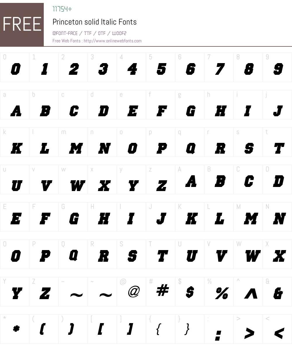 Princeton solid Font Screenshots
