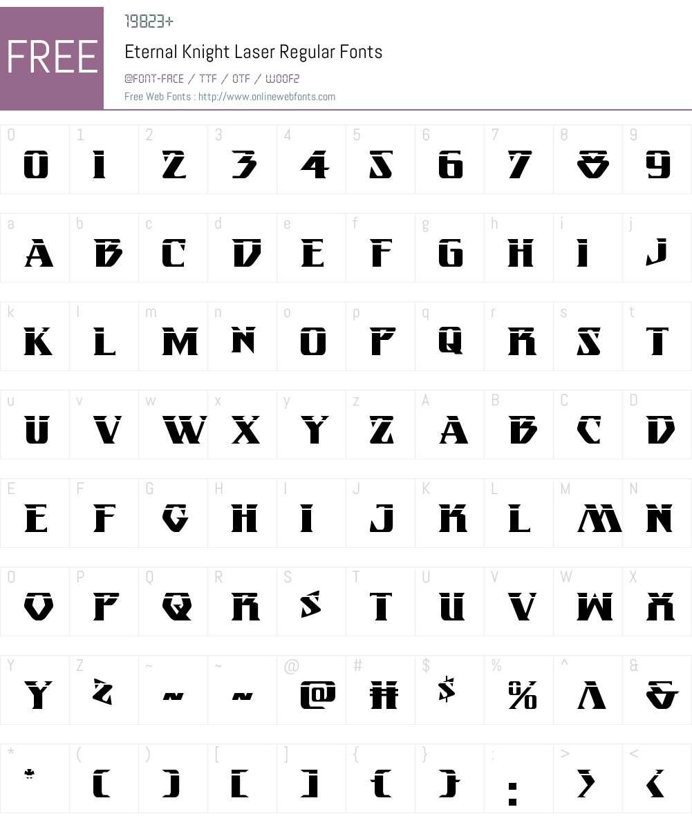 Eternal Knight Laser Font Screenshots