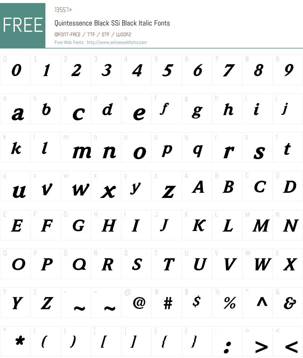 Quintessence Black SSi Font Screenshots