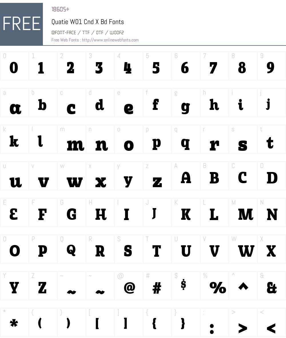 QuatieW01-CndXBd Font Screenshots