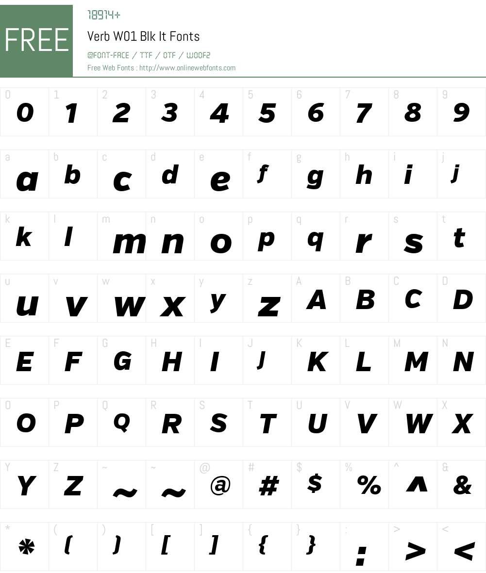 VerbW01-BlkIt Font Screenshots