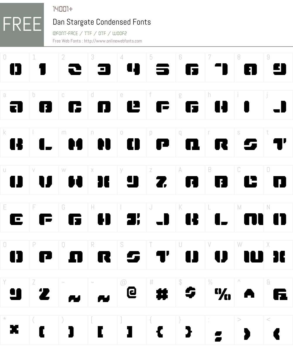 Dan Stargate Condensed Font Screenshots