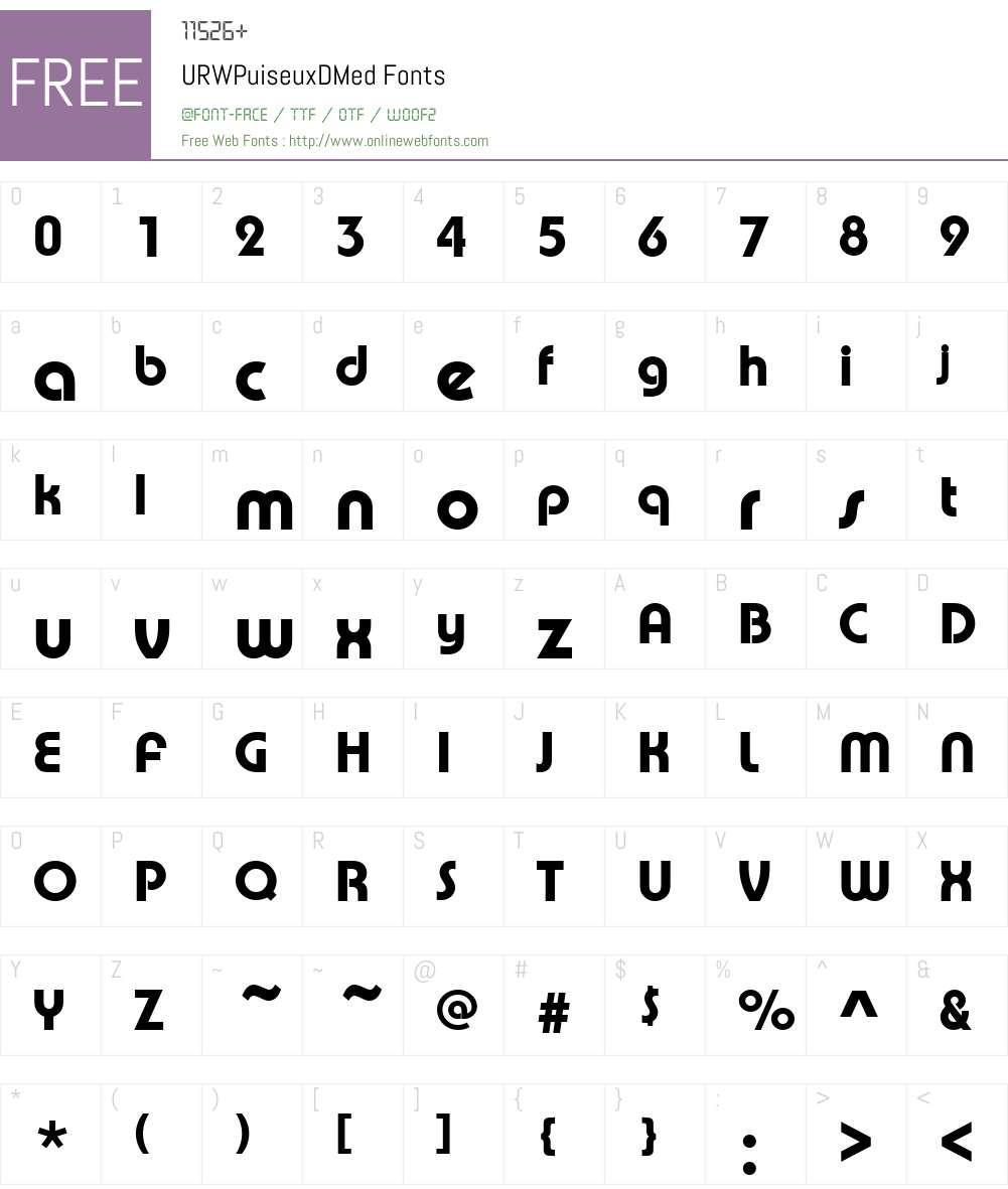 URWPuiseuxDMed Font Screenshots