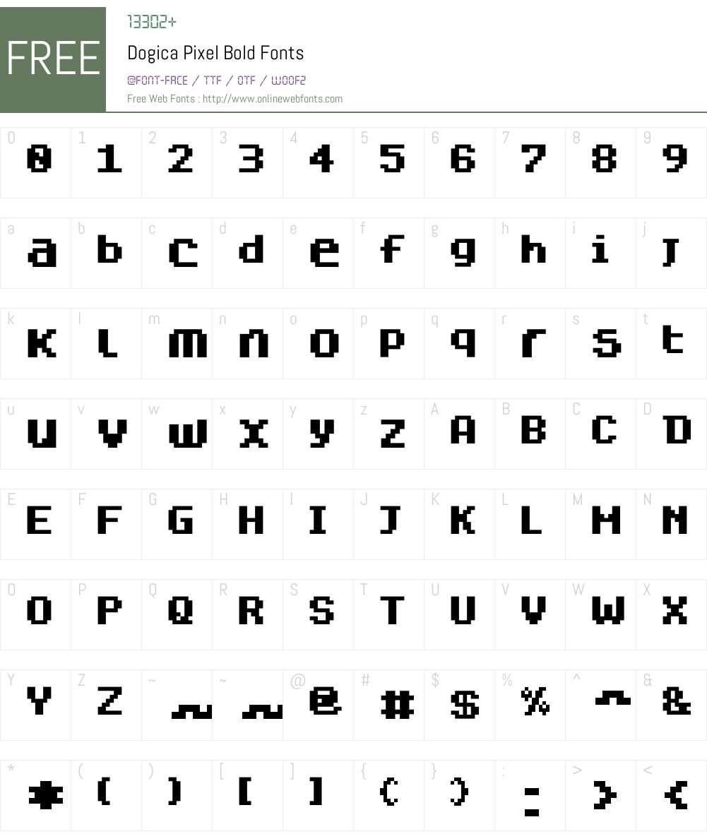 Dogica Pixel Font Screenshots