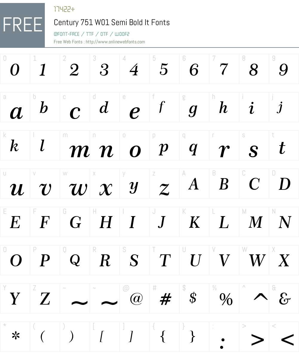 Century751W01-SemiBoldIt Font Screenshots