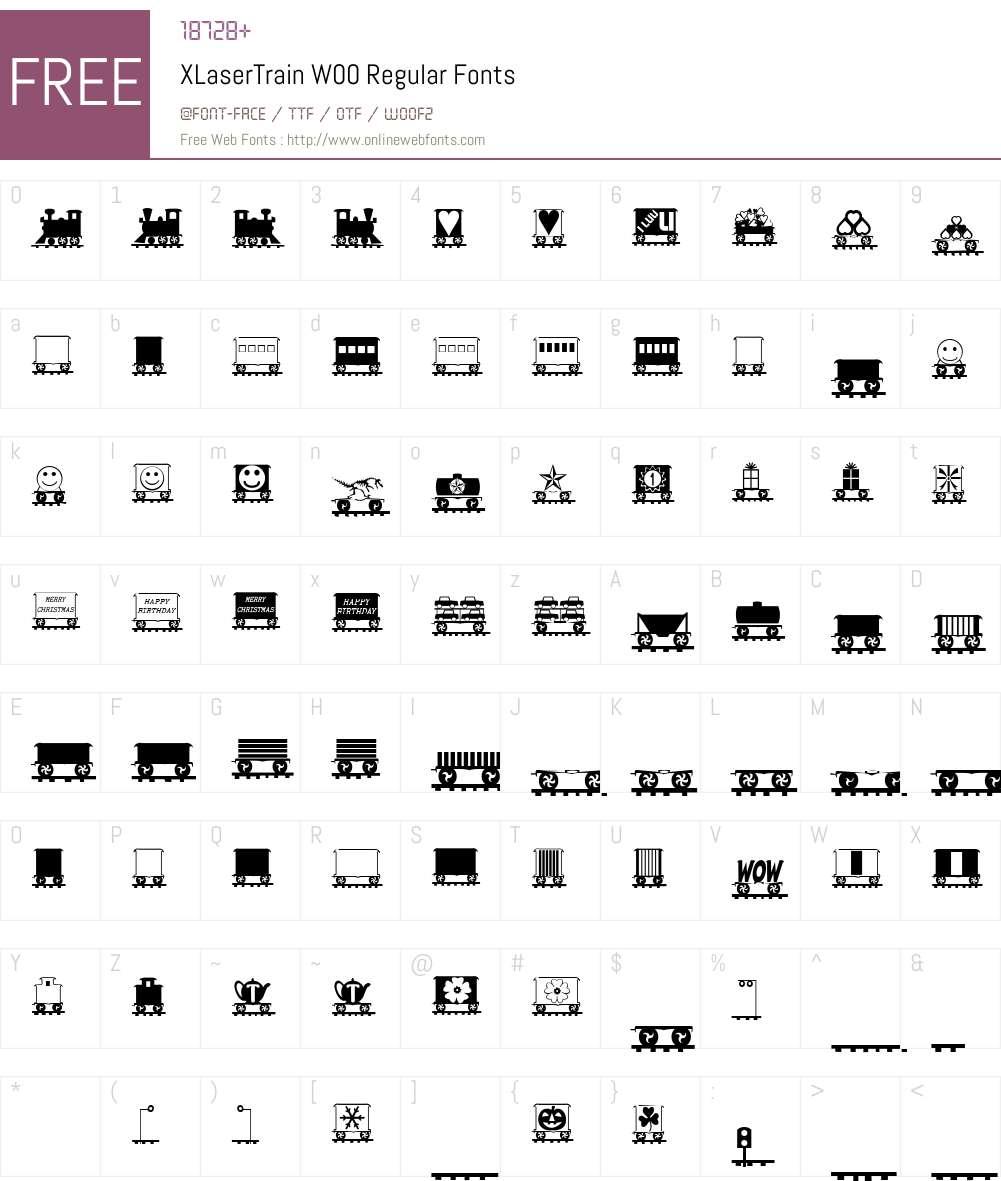 XLaserTrainW00-Regular Font Screenshots