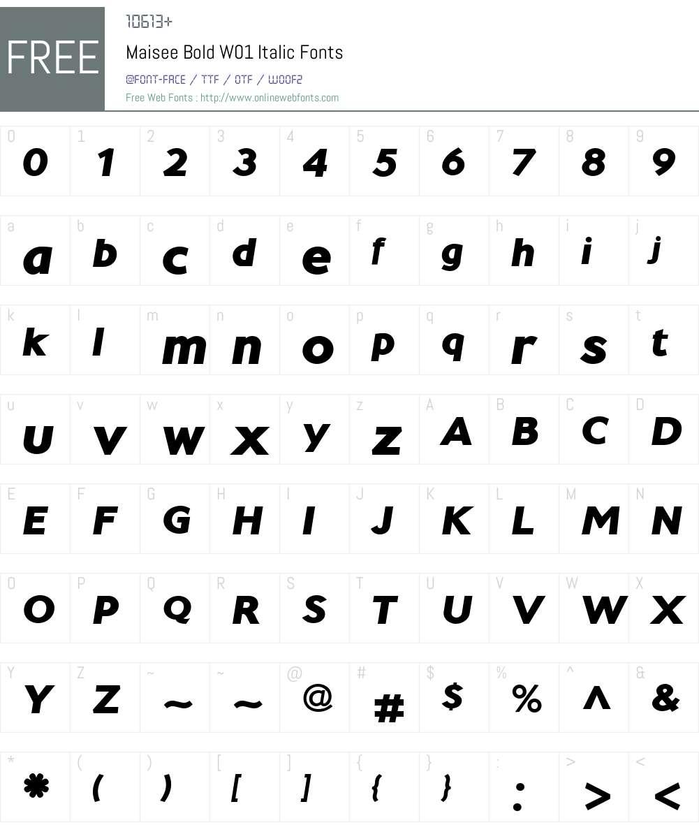 MaiseeBoldW01-Italic Font Screenshots