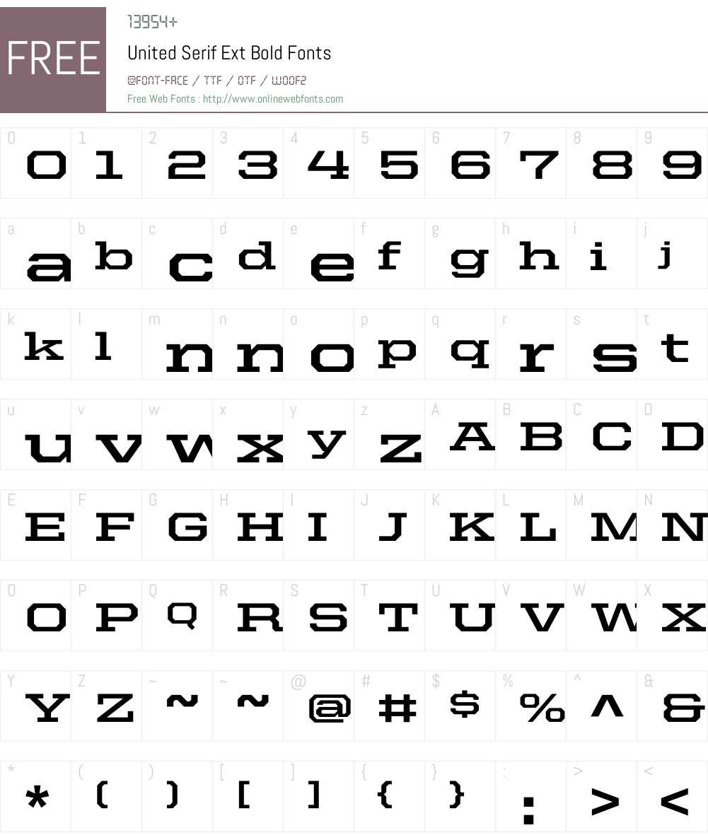 United Serif Ext Font Screenshots