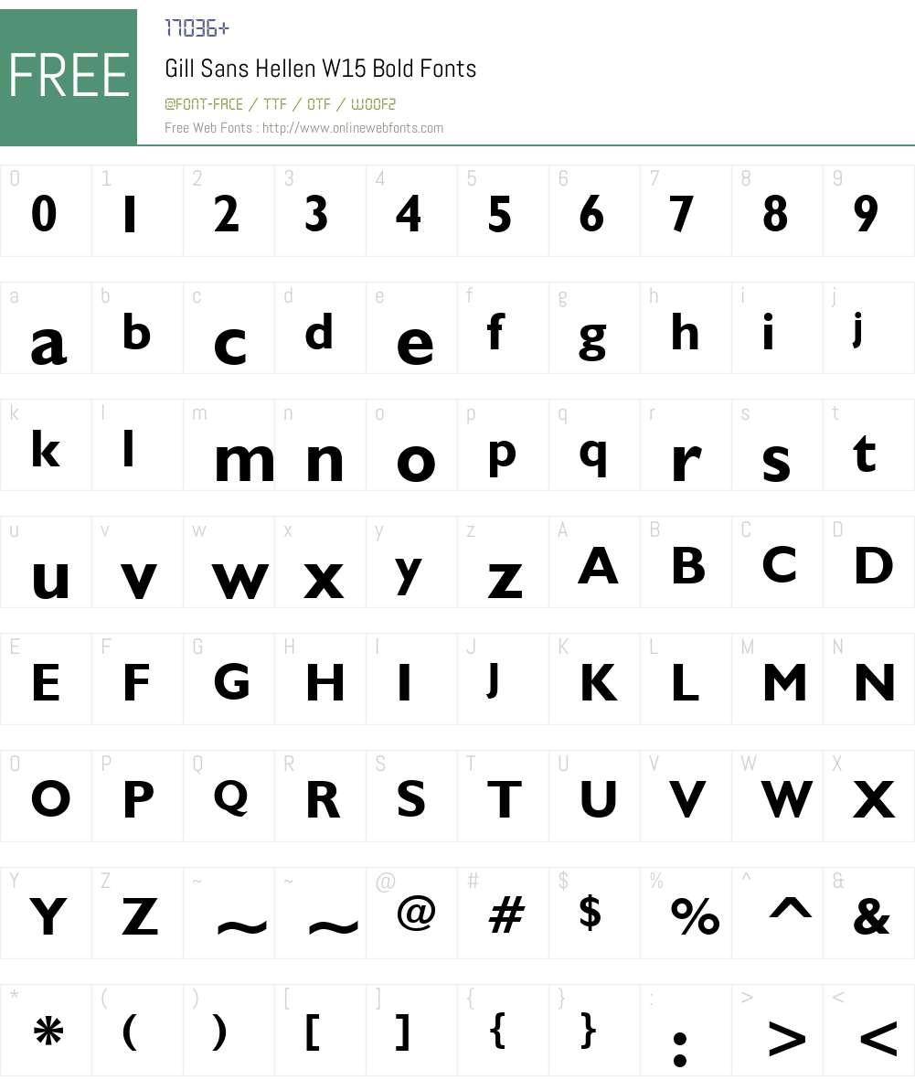 GillSansHellenW15-Bold Font Screenshots