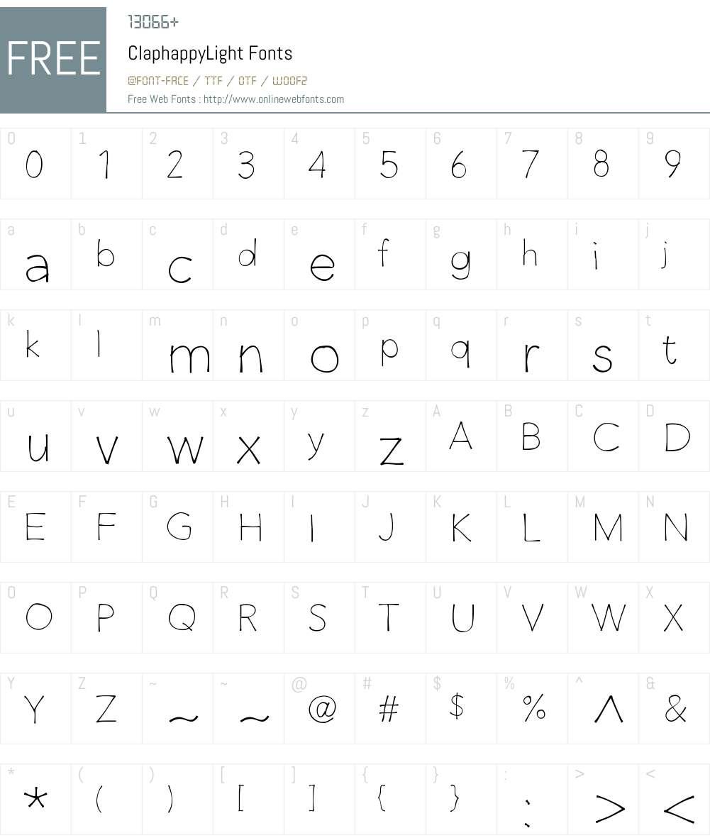 ClaphappyLight Font Screenshots