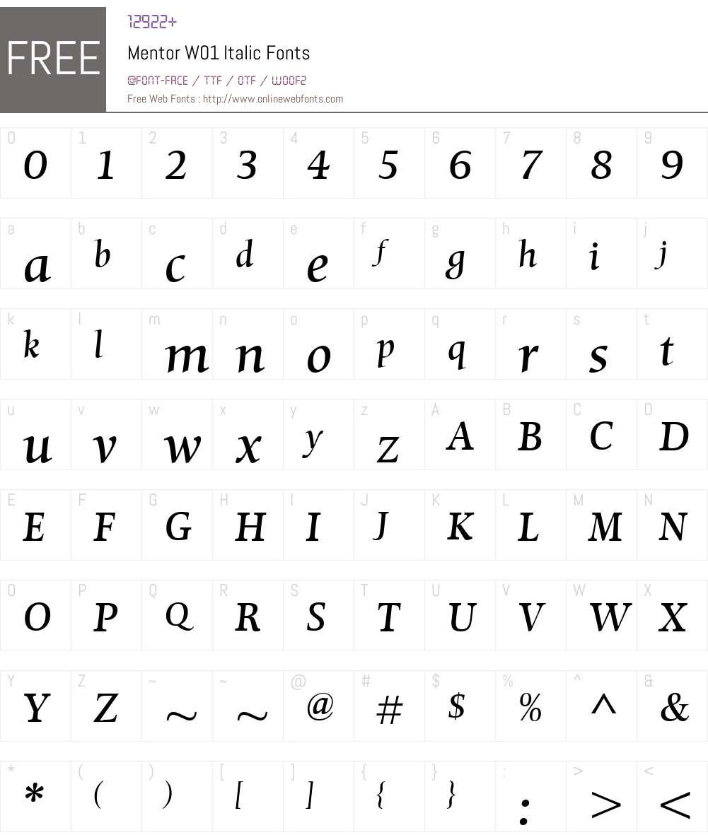 MentorW01-Italic Font Screenshots