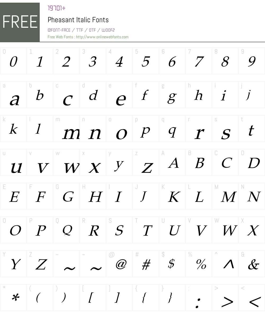 Pheasant Font Screenshots