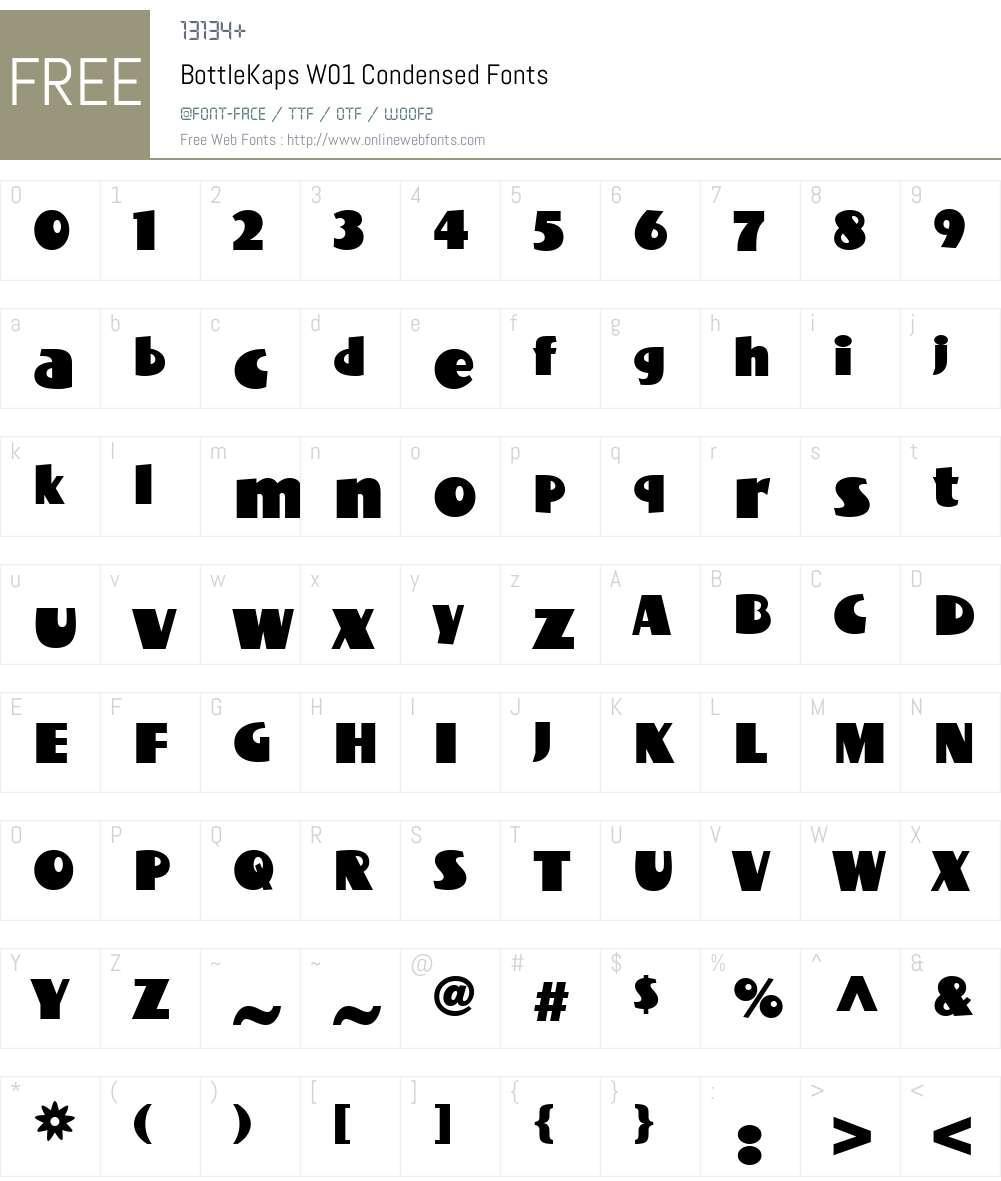 BottleKapsW01-Condensed Font Screenshots