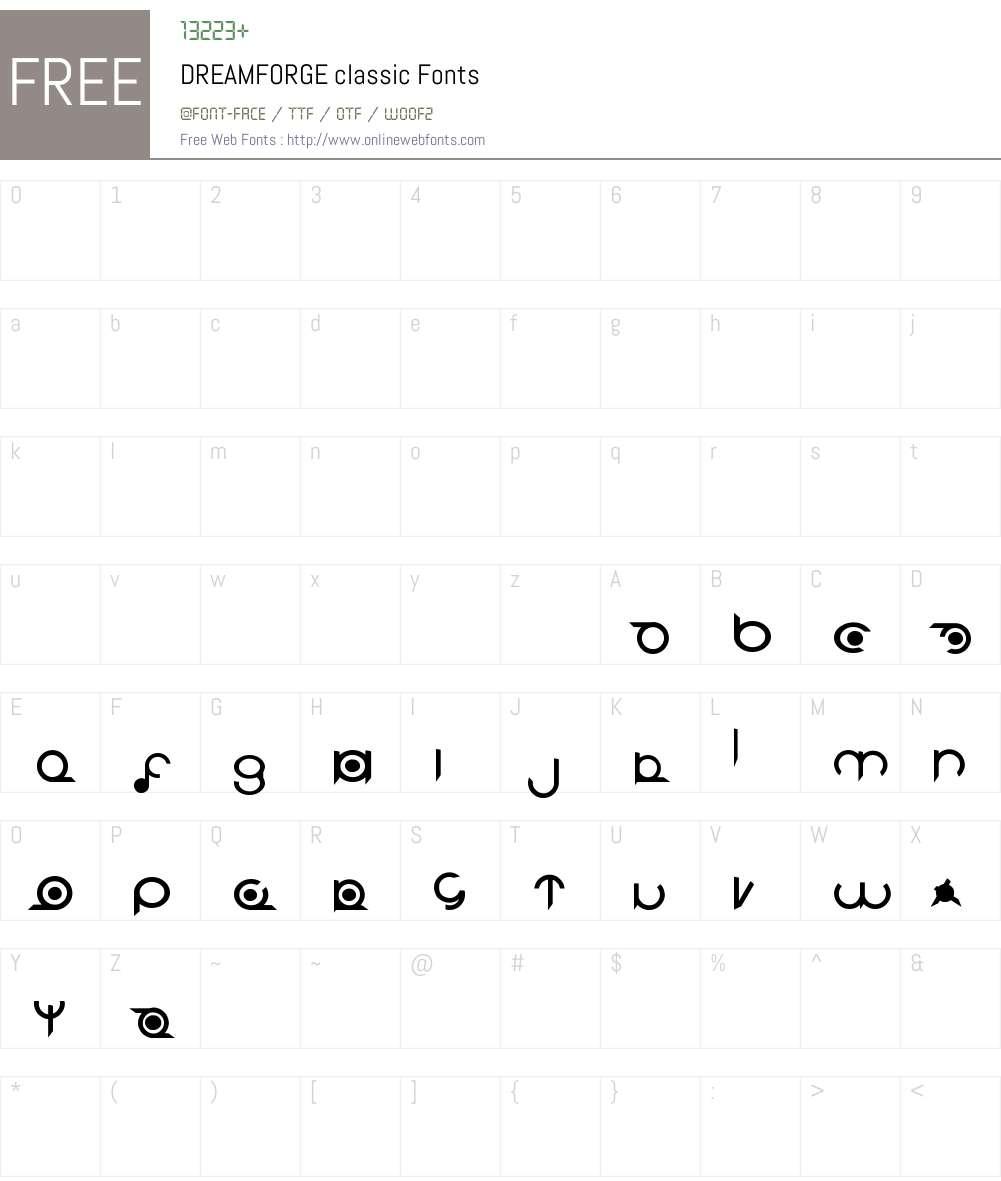 DREAMFORGE classic Font Screenshots