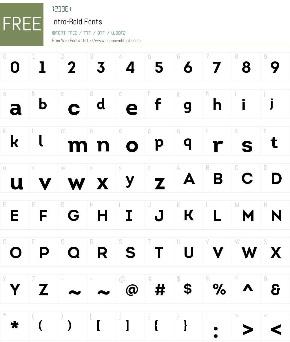 Intro Bold Font Screenshots