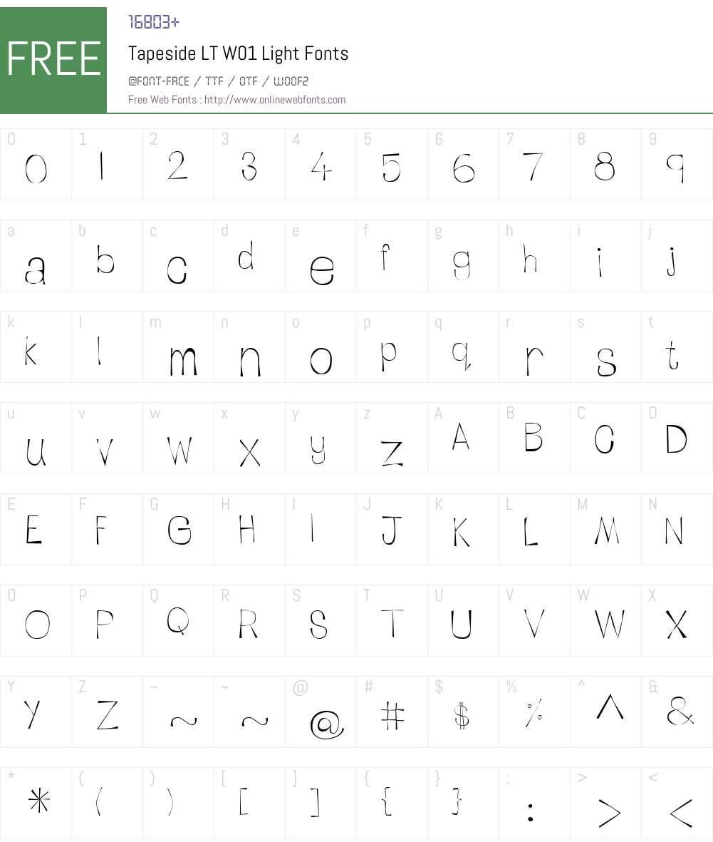 TapesideLTW01-Light Font Screenshots
