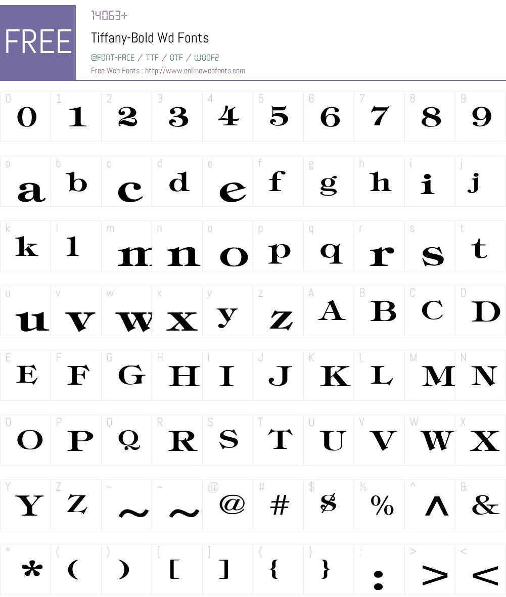 Tiffany-Bold Wd Font Screenshots