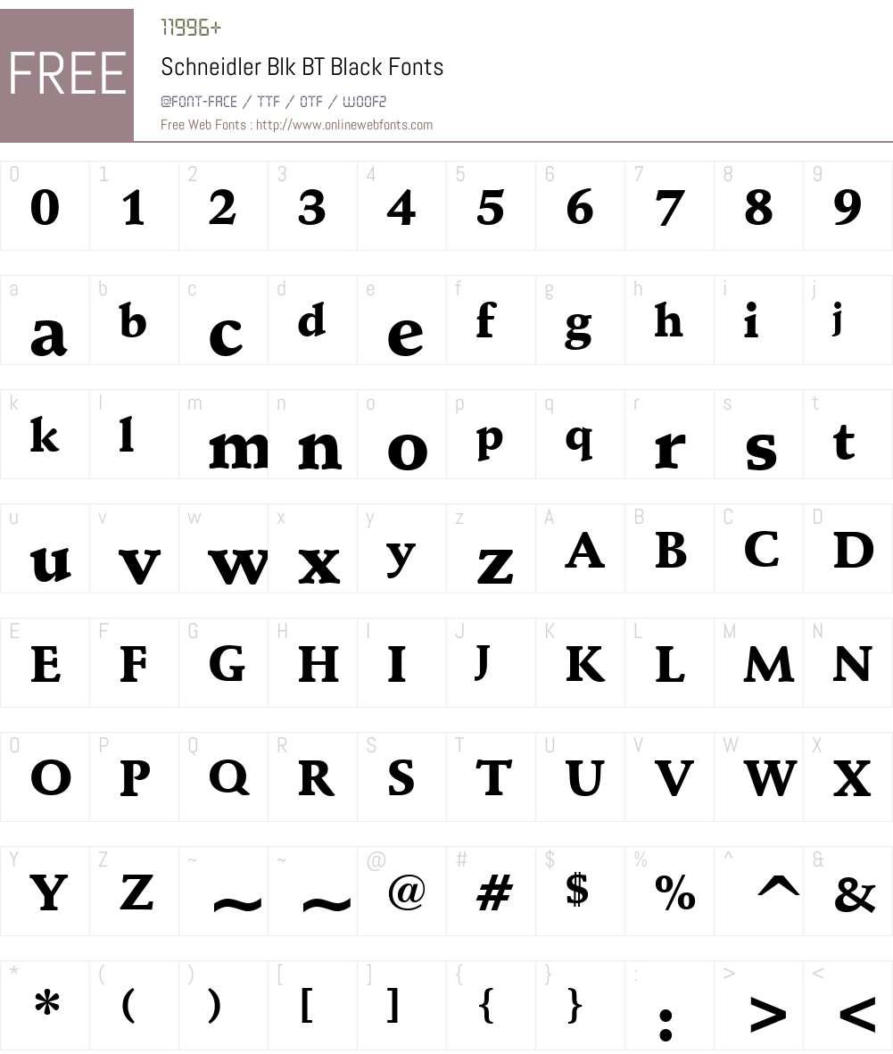 Schneidler Blk BT Font Screenshots