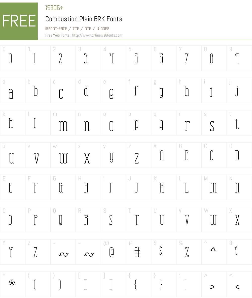 Combustion Plain BRK Font Screenshots