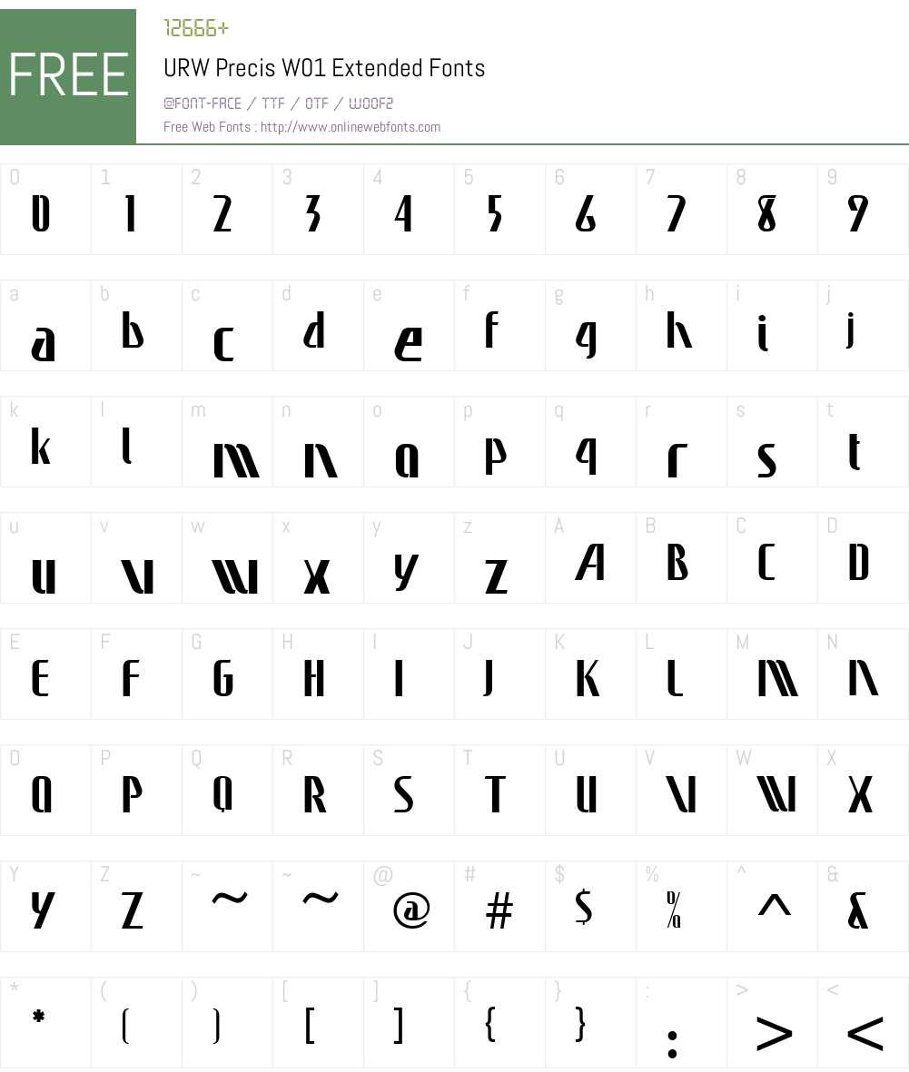 URWPrecisW01-Extended Font Screenshots