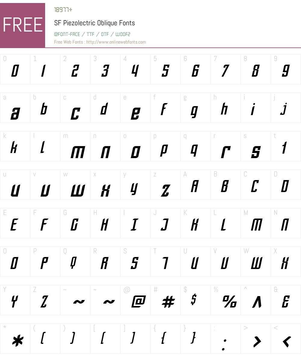 SF Piezolectric Font Screenshots