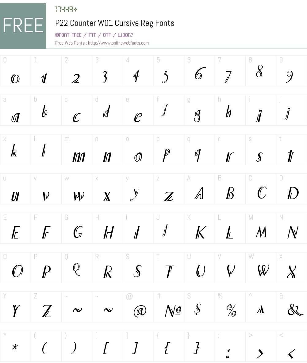 P22CounterW01-CursiveReg Font Screenshots