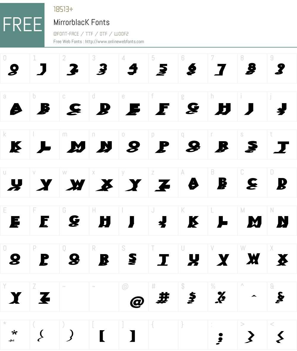 MirrorblacK Font Screenshots
