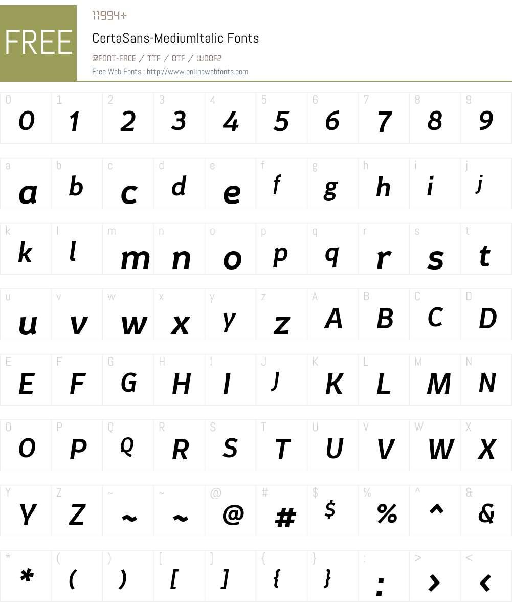 Certa Sans Font Screenshots
