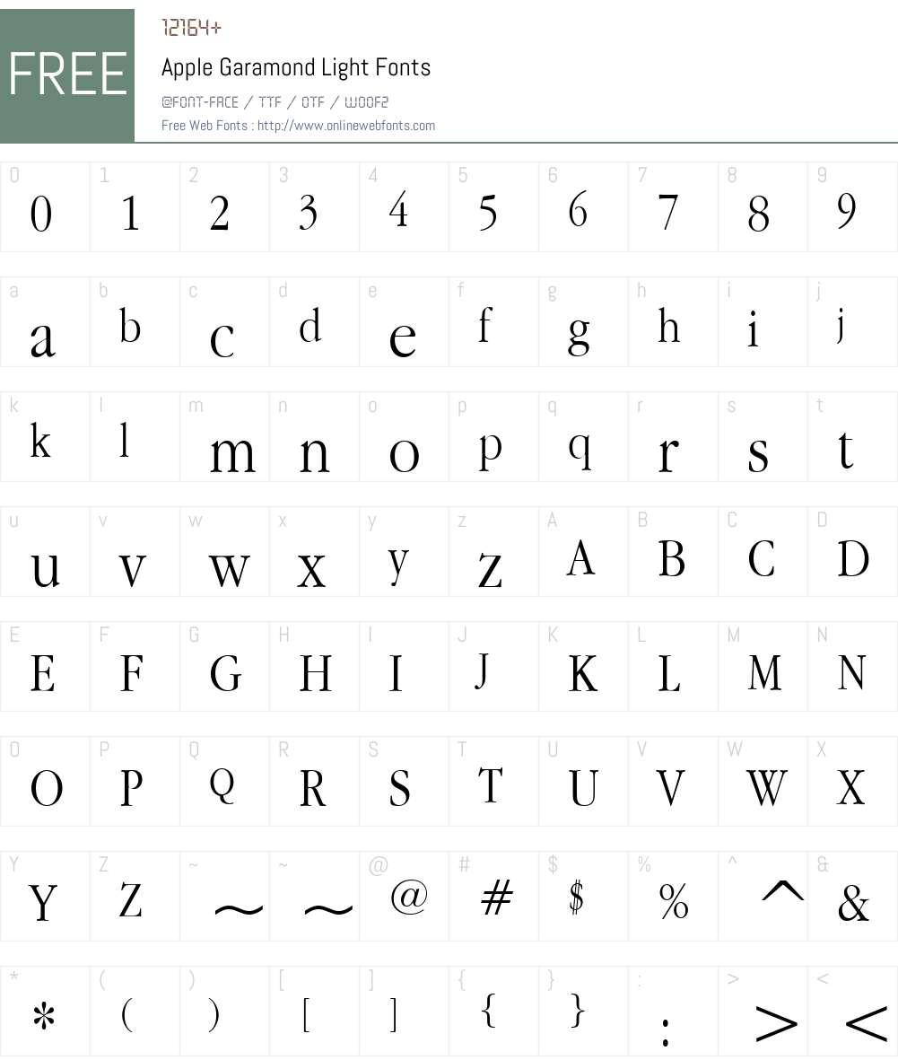 Apple Garamond Light Font Screenshots