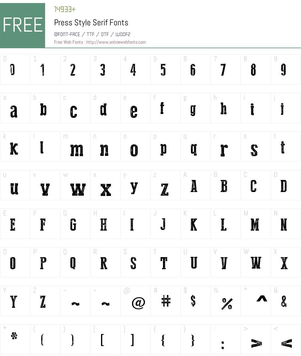 Press Style Serif Font Screenshots
