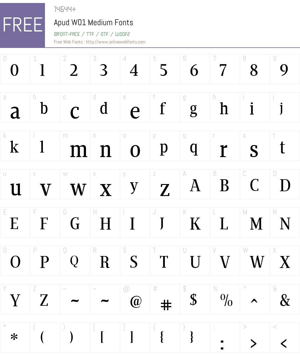 ApudW01-Medium Font Screenshots