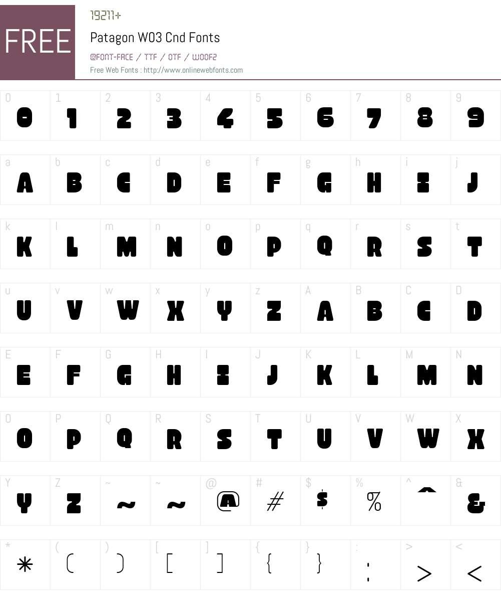 PatagonW03-Cnd Font Screenshots
