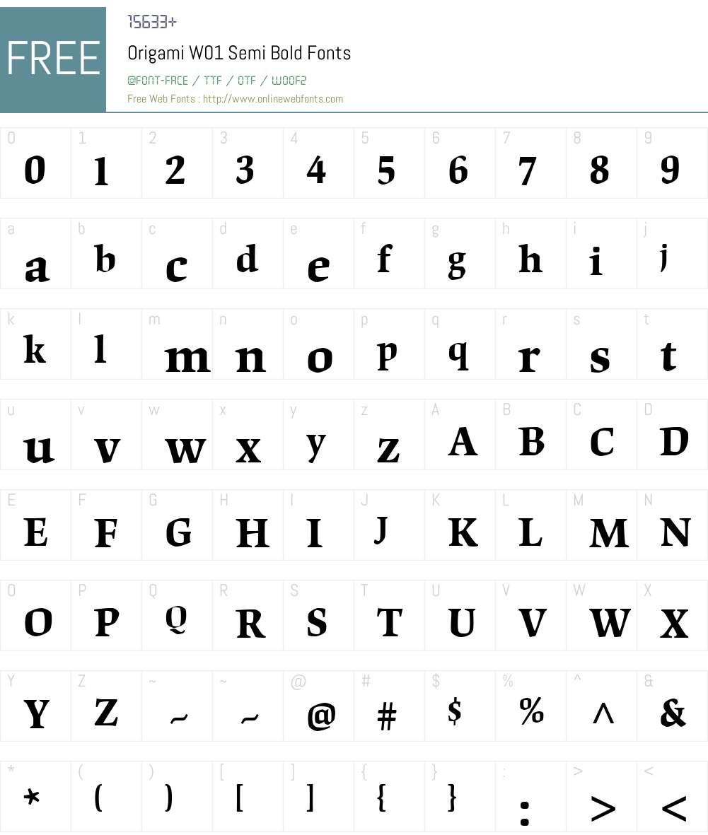 OrigamiW01-SemiBold Font Screenshots