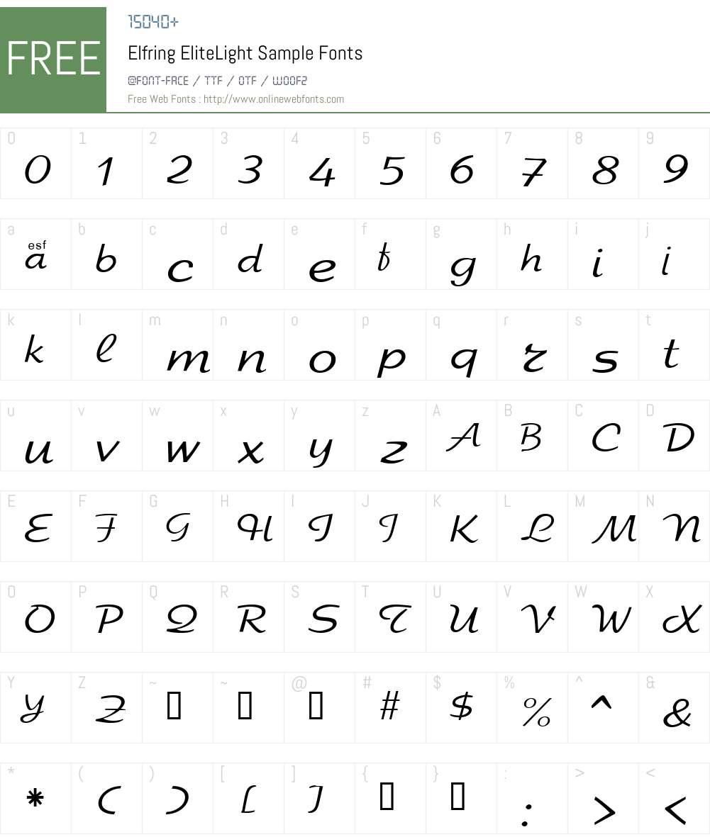 Elfring EliteLight Sample Font Screenshots