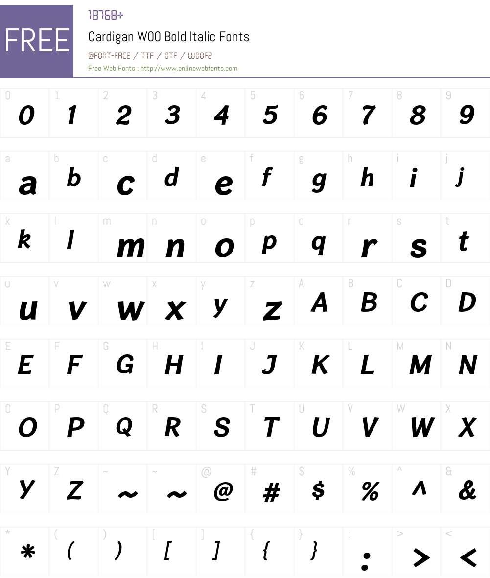 CardiganW00-BoldItalic Font Screenshots