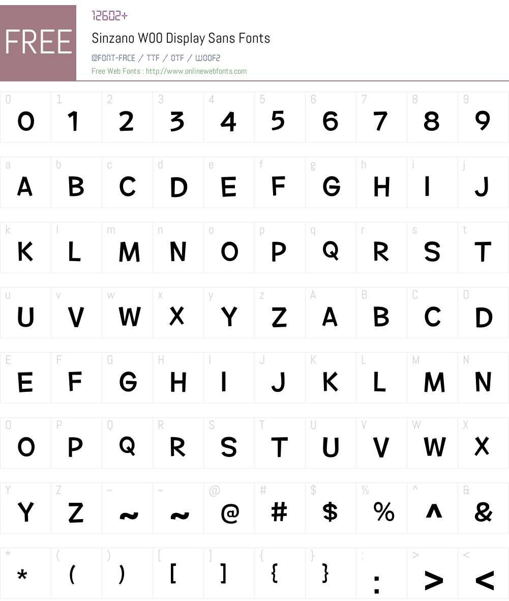 SinzanoW00-DisplaySans Font Screenshots