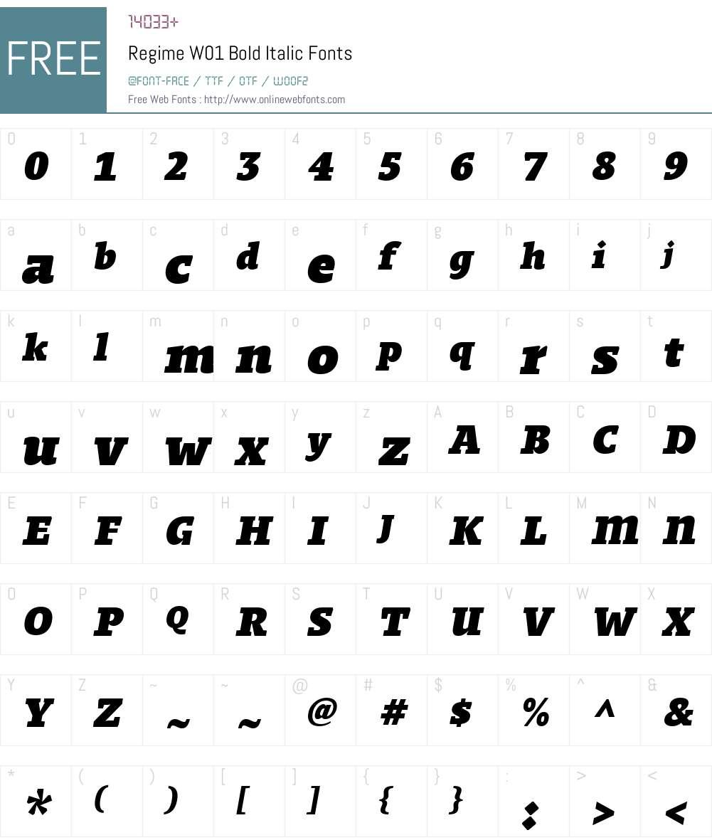 RegimeW01-BoldItalic Font Screenshots