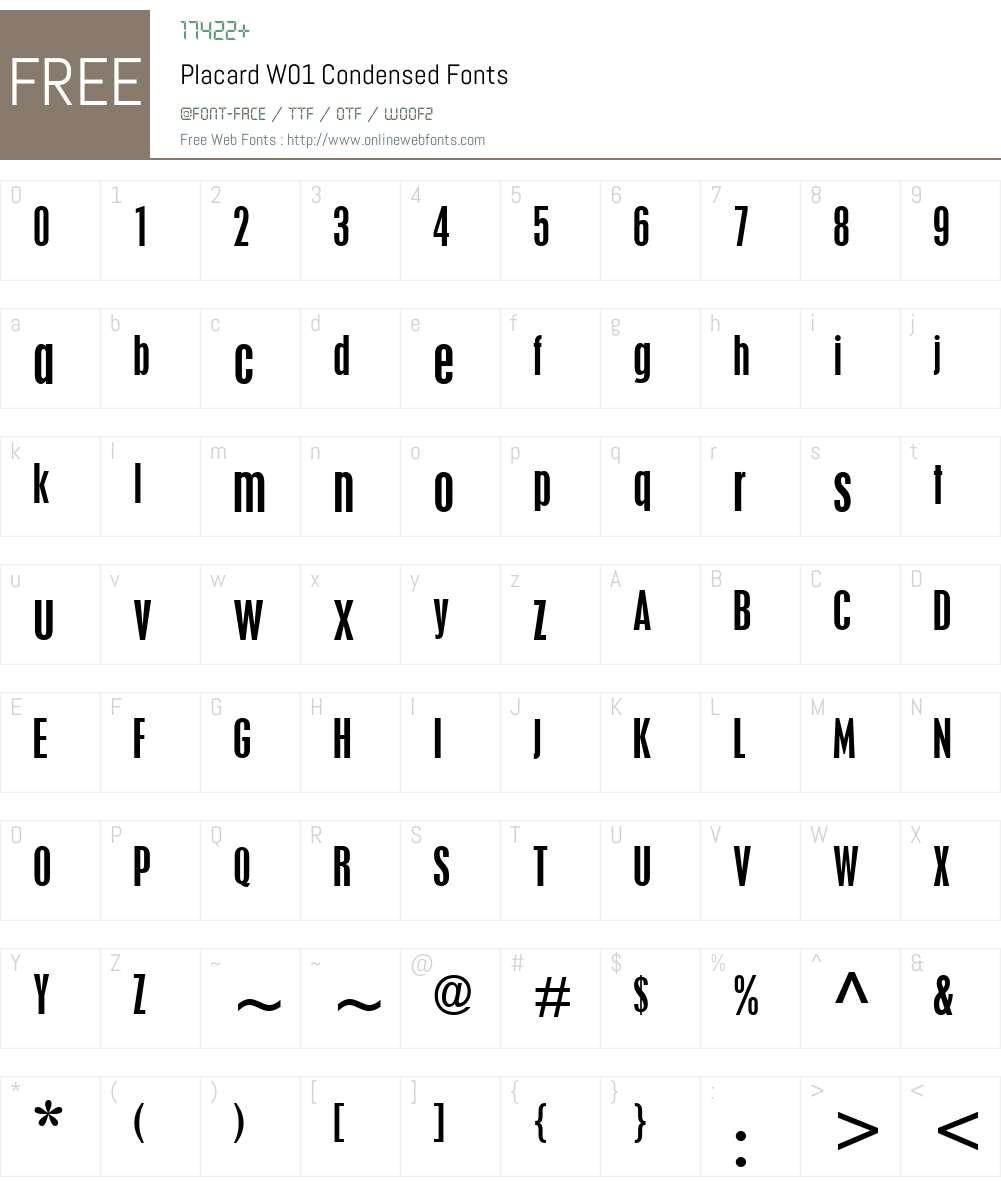PlacardW01-Condensed Font Screenshots